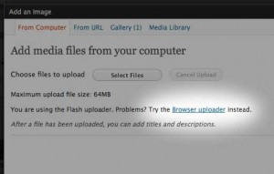 Screenshot of the Add an Image dialog where you can choose to use the browser uploader instead of flash.
