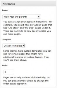 A screenshot thumbnail of WordPress page Attributes box